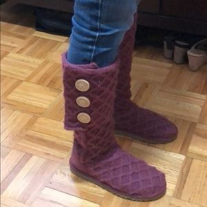 Tall Merlot lattice cardi ugg boot - brand new